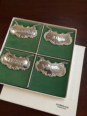 Vintage Set of 4 STERLING SILVER Liquor bottle Decanter Labels - by Gorham