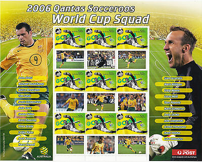 Australia SES sheet mint unhinged 2006 SOCCER WORLD CUP SQUAD