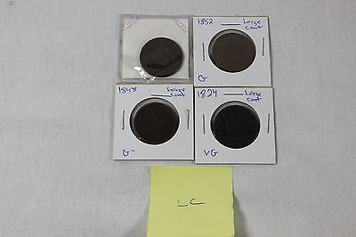 1824 1837 1848 1852 Large Cent Lot***four Cents***free S/h