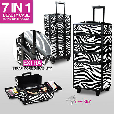 7 In1 Portable Cosmetics Beauty Case Makeup Jeweller Box Carry Organiser Trolley