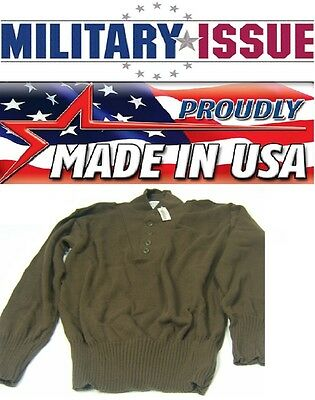 0815db2aaf NEW Military Issue ARMY SWEATER 5 Button OD Brown Army Jeep Sweater (SM 38