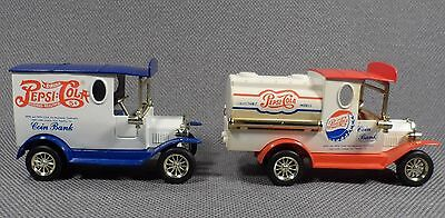 2 Pepsi Cola Truck Collectible Die Cast Coin Banks ~ NO KEYS