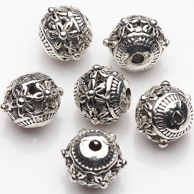 10/20Pcs Charm Tibetan Silver Plated Carved Flower Round Spacer Beads DIY 9*8mm