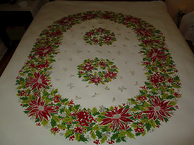 Vtg-Tablecloth- Christmas White Oval Poinsetta-Wreaths-Excellent 58 x70