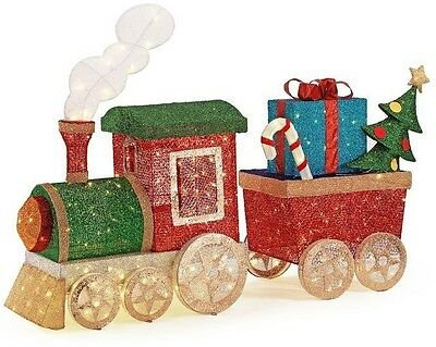 Indoor and Outdoor Christmas Decor Ornaments LED Lighted Mesh String Train Set