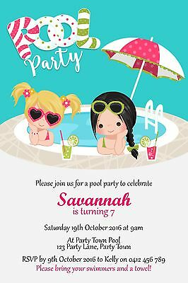 Personalised Girls Pool Party Birthday Party Invitation - You Print
