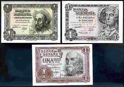 Spain. Three x One Peseta, 1948-1953.