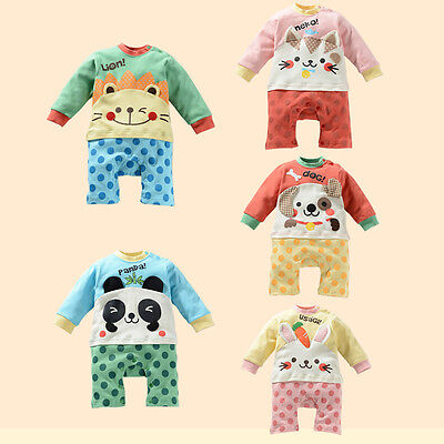 Baby Infant Toddler Cartoon Jumpsuit Sleepwear Sleeve Babysuits Clothes Costume
