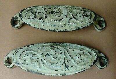 Lot of 2 Cast Iron Ornate Drawer Pulls Dated 1878