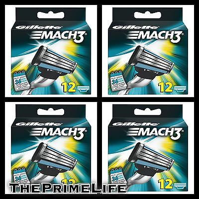 4x Gillette Mach3 Razor Shaving Blades 12Pack (48 Cartridges) GENUINE