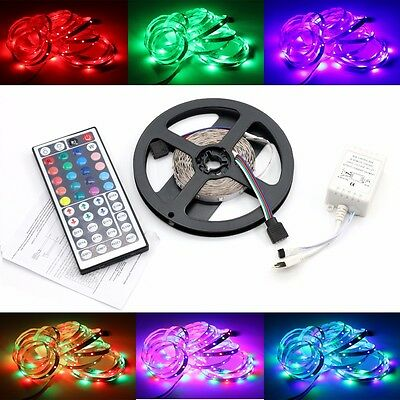 New 5M 300LEDs Flexible Strip Lighting 3528 SMD Waterproof RGB+Receiver+Remote