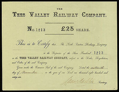 Tees Valley Railway Company, £25 share, 1866, yellow paper, AEF