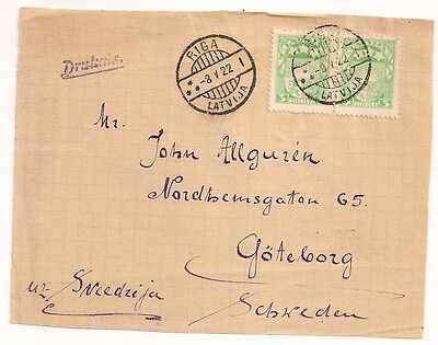 FRONT COVER RIGA LATVIJA LETTONIE to SWEDEN. 1922. L344