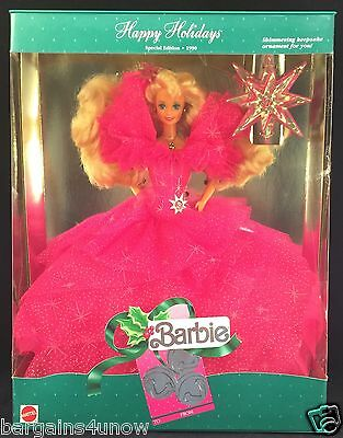1990 Happy Holidays Barbie Pink Silver Gown Ornament NRFB
