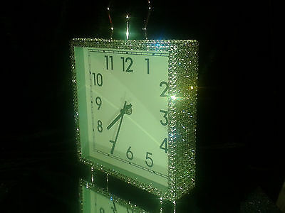Mr And Mrs style Large Silver square Mantel Clock with Swarovski Crystals NEW!!