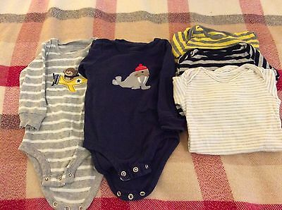 Carters 5x baby bodysuit long sleeve vests new (3-6 months)