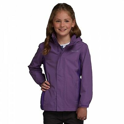 Regatta Greenhill II Girls Waterproof Concealed Hooded Jacket Purple
