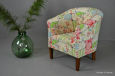 Antique Early 20th Century Floral Upholstered Tub Chair Armchair