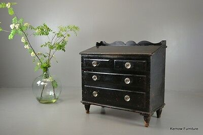 Antique Victorian Black Painted Pine Hinged Lid Grain Bin Box Chest