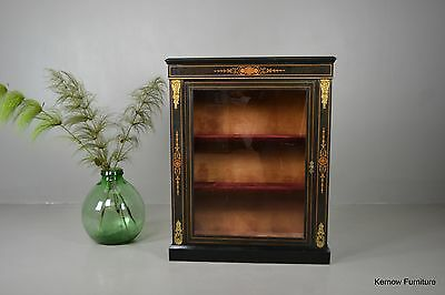 Antique Victorian Ebonised Ormolu Mount Glazed Side Pier Cabinet
