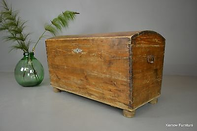 Antique Dutch Pine Kist Dome Top Trunk Chest