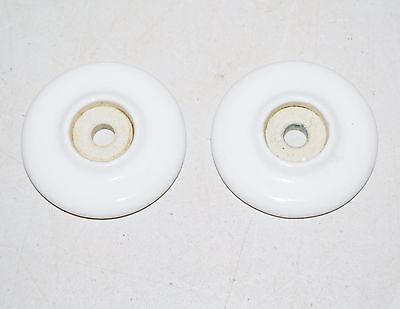 Antique WHITE CERAMIC BACKPLATE For Drawer Knob ~ Set of 2 Round Back Plates K63
