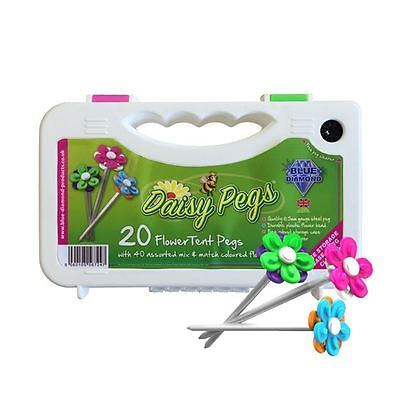 Blue Diamond Flower Daisy 20 x Tent & Awning Pegs with Peg Cleaner PEG706