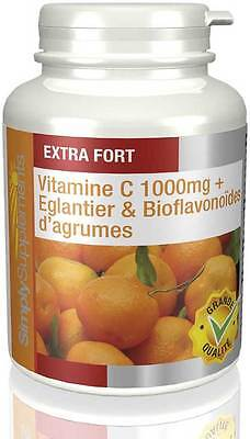 Vitamine C 1000mg & Eglantier - 180+180 (360)  Comprimés - Simply Supplements