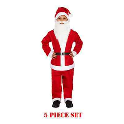 Childrens Father Christmas Santa Claus Suit Beard Costume Outfit Boy 4-12 years