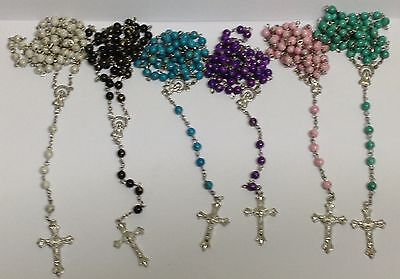 Drizzling bright faceted drizzling rosary beads with silver  filigree Catholic