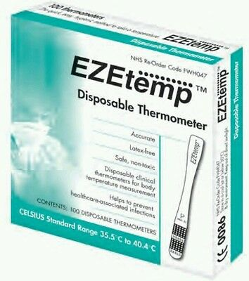 1 Box of 100 EZEtemp Zeal Disposable Thermometer