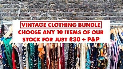 VINTAGE clothing bundle/joblot: choose ANY 10 items currently in stock for £30