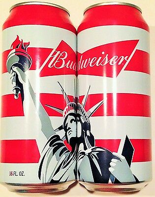 Budweiser Statue of Liberty 2015 stripes beer can 16 oz red white blue 664965 BO