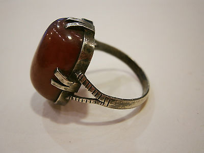 19C. ANTIQUE ULTRA RARE OLD OTTOMAN RED AMBER SILVER RING JEWEL /w CASE