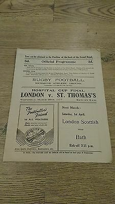 London v St Thomas's 1950 Hospitals Cup Final Rugby Union Programme