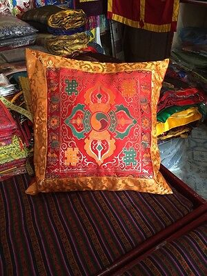Tibetan Buddhism Red Double Dorje silk brocade Cushion Cover / pillow cover