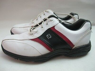 Mens FootJoy Softjoys White Black Red Golf Lace Up Sport Shoes Uk 9.5 EUR 44