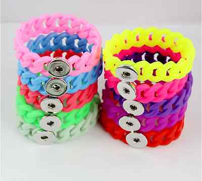 Fashion Snap Jewelry Silicone Bracelet 10pcs Mixed Colors Fit 18mm Ginger snap