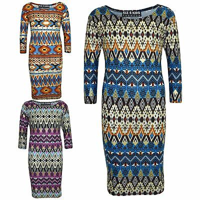Gilrs Dress Kids Aztec Foil Print Bodycon Fashion Midi Dresses Top Age 7-13 Year