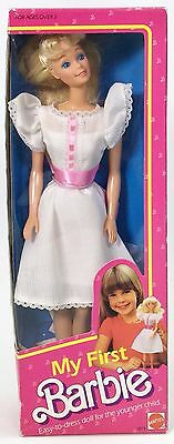 1984 My First Barbie White Dress Pink Ribbon #2 Nrfb