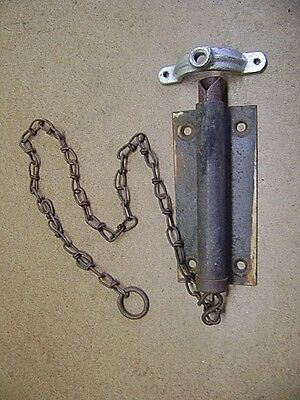 Old Tools Vtg Spring Loaded Door Latch Lock 2' Chain Pull Cord plus Bonus Eye