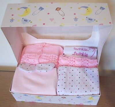 3-5lbs Premature Baby Tiny Girls Clothes Pink Sleepsuit Vest Hat Cardigan Gift