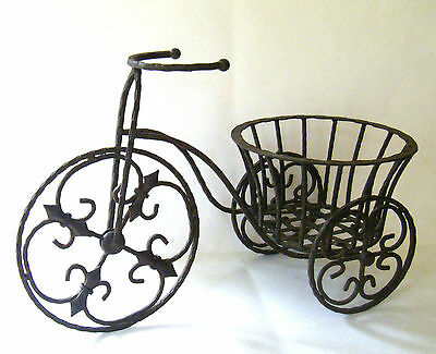 Iron Plant Stand Tricycle Flower Basket Pot Holder Indoor Patio Outdoor Decor