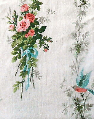 Vintage French Shabby Cottage Birds Roses Bouquet Bow Fabric ~Pink Aqua Green #1