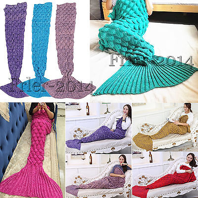 Crocheted Fish Scale Mermaid Tail Blanket Cocoon Knit Lapghan Quilt Kids & Adult