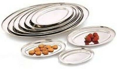 Large  Stainless Steel Oval Serving Platters Tray Dish Party Platter Trays