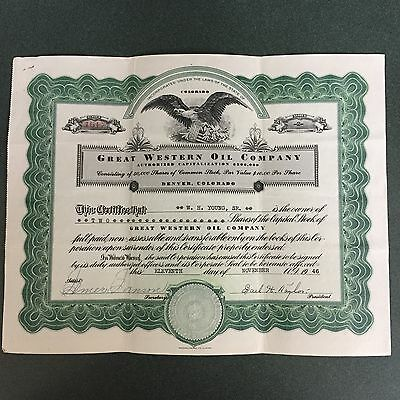 Great Western Oil  Company Stock Certificate From 1946