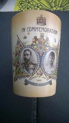King George v & Queen Mary COMMEMORATION Beaker crowned June 22nd 1911