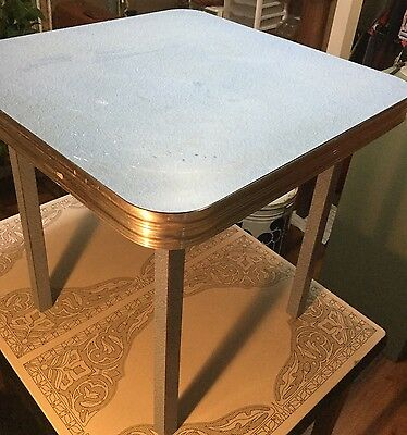 Vintage CHILD'S Chrome TABLE Formica Blue crackle Top AND Wood Table