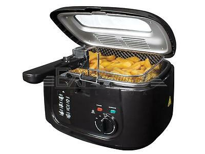 Black 2.5L Chip Fryer Electric Deep Fat Non Stick Pan Safe Basket Handle Window